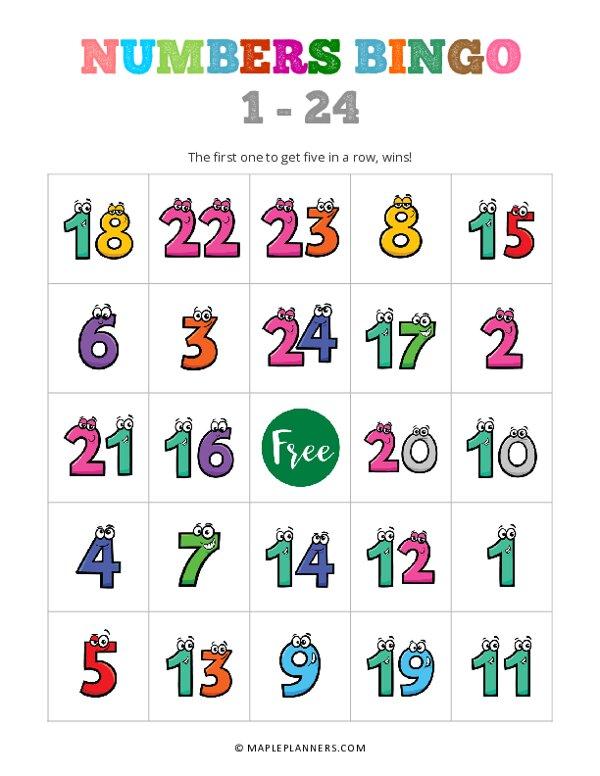 1 – 24 Number Bingo