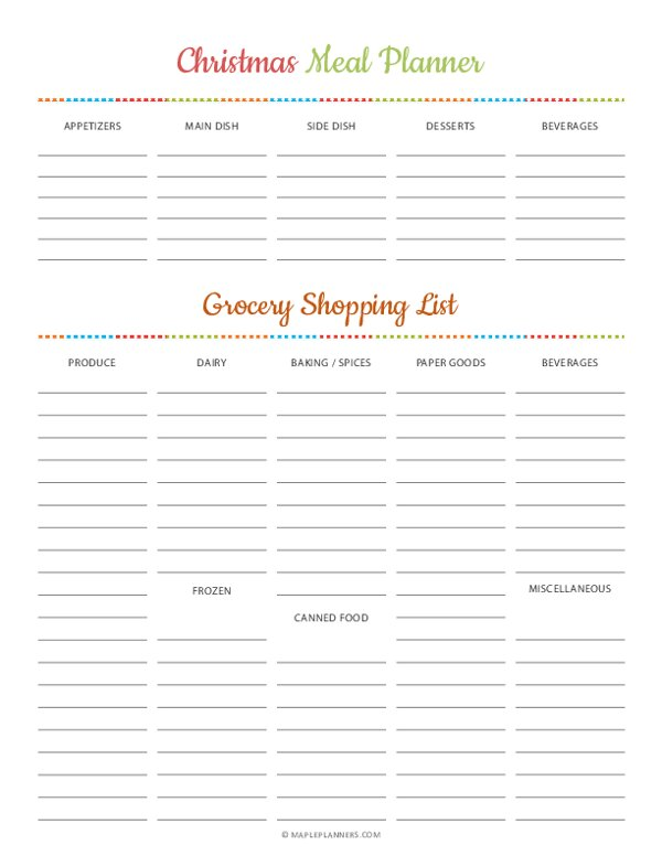 Christmas Party Meal Planner