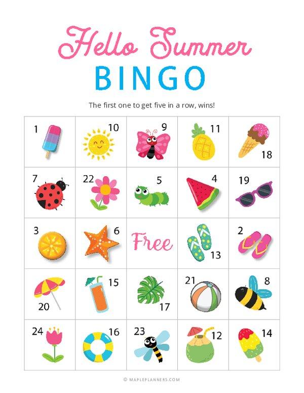 Hello Summer Bingo Cards