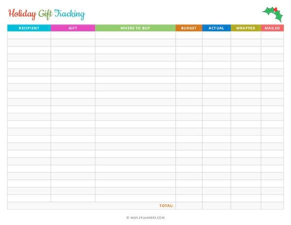 Christmas Holiday Gift Tracking