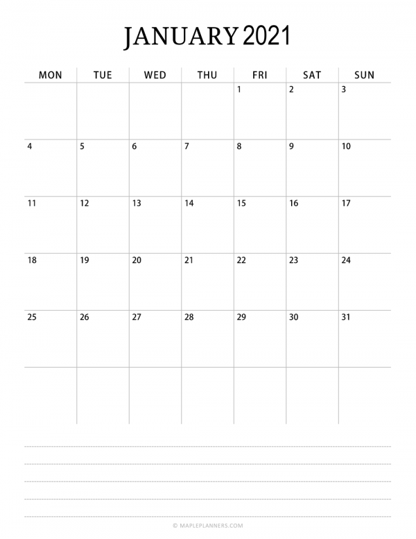 Monthly Calendar 2021 – Vertical Layout
