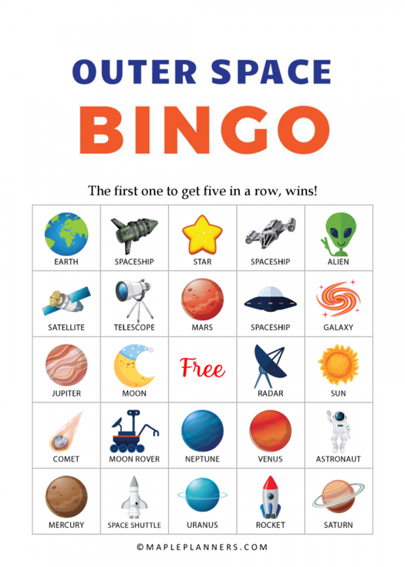 Outer Space Bingo Cards