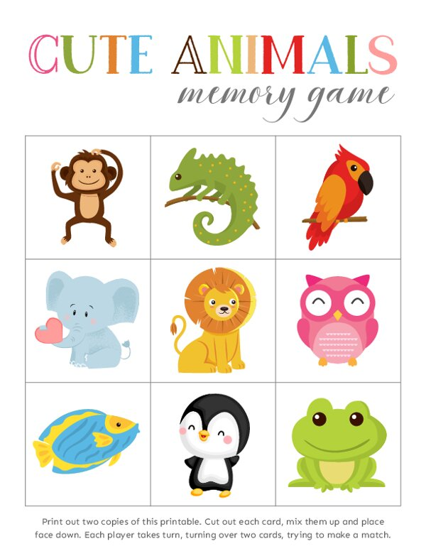 Match the Animals Memory Games
