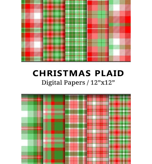 Christmas Plaid Digital Papers
