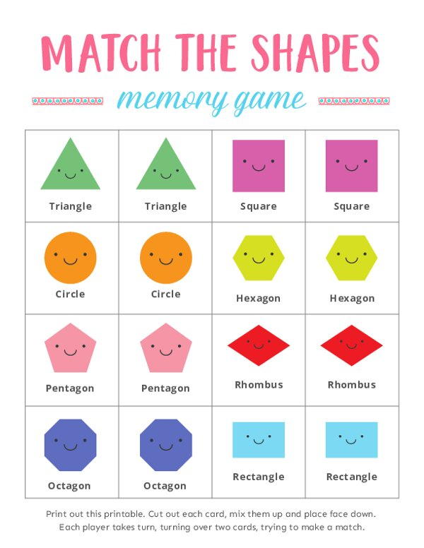 Match the Shapes Memory Games for Kids