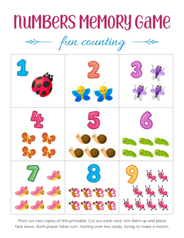 Match the Numbers Memory Games for Kids