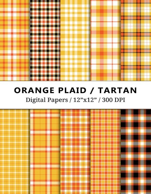 Orange Plaid Digital Papers