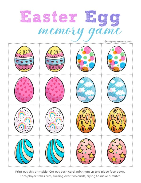Easter Egg Memory Games
