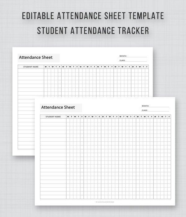 Student Attendance Sheet Template