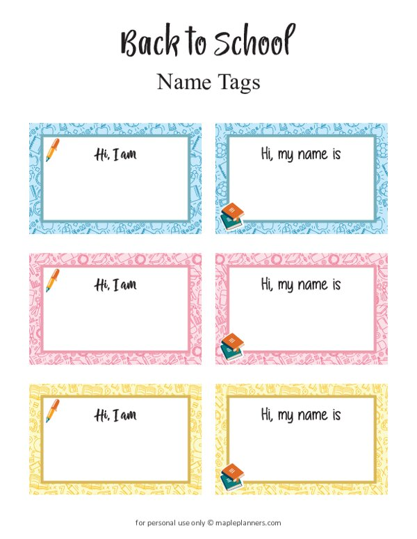 Back to School Name Tags