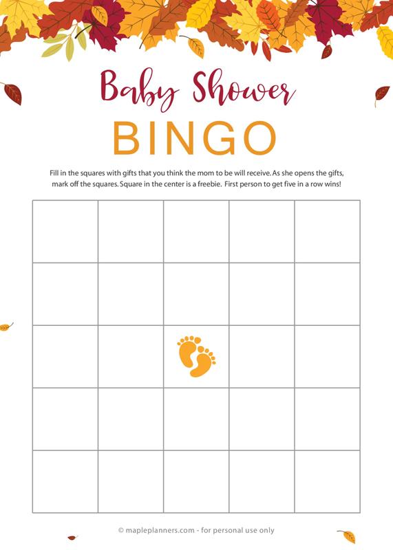 Fall Baby Bingo Printable