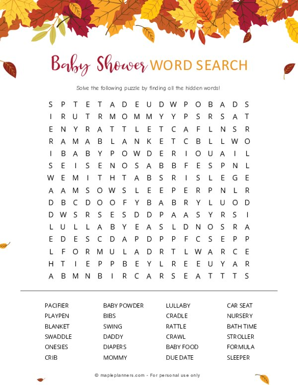 Fall Baby Shower Word Search