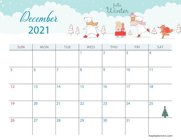 December 2021 Christmas Calendar (Horizontal)