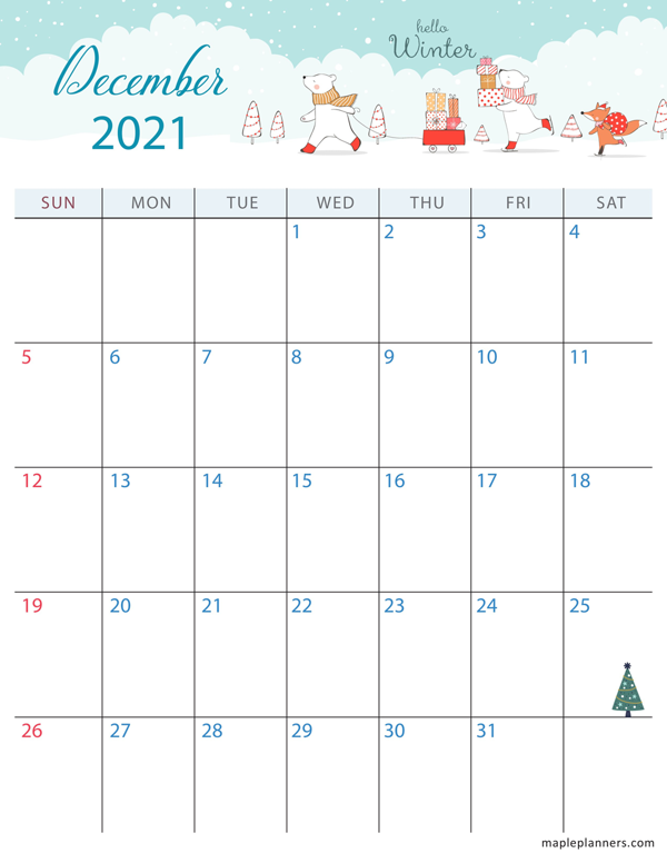 December 2021 Christmas Calendar (Vertical)