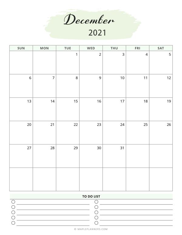 December 2021 Calendar Template
