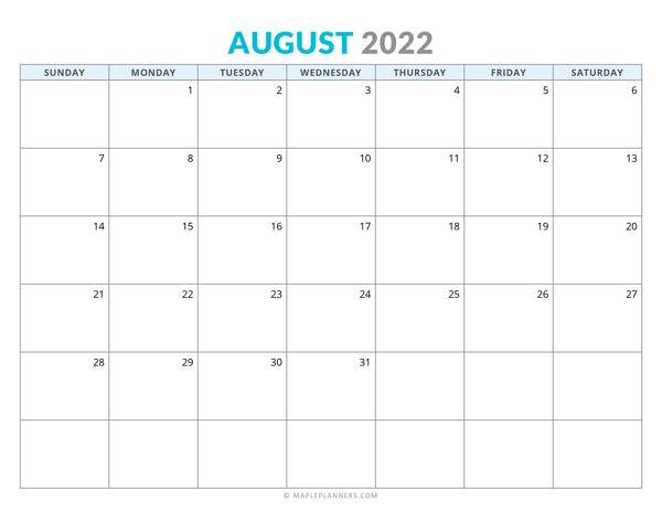August 2022 Calendar (Horizontal)