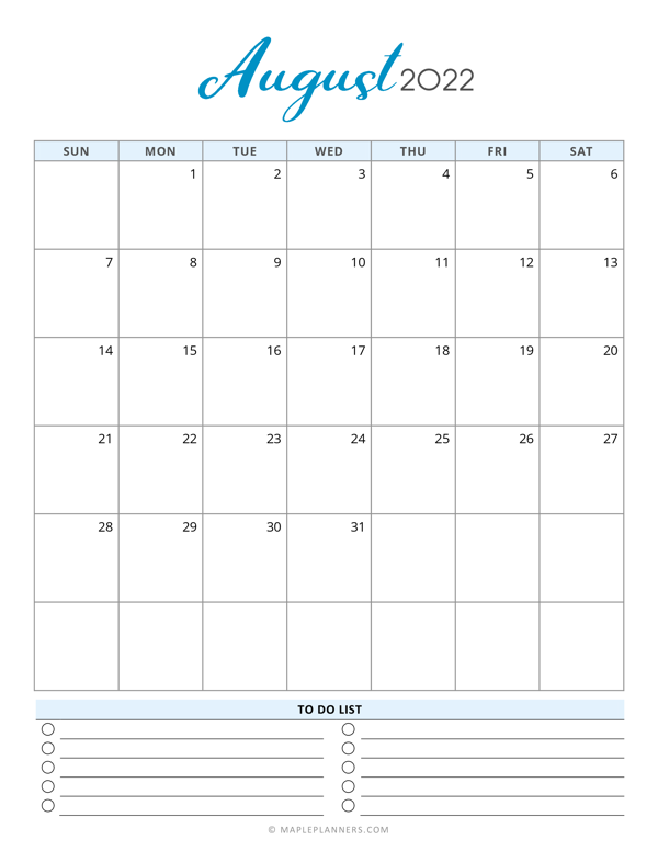 August 2022 Calendar Template