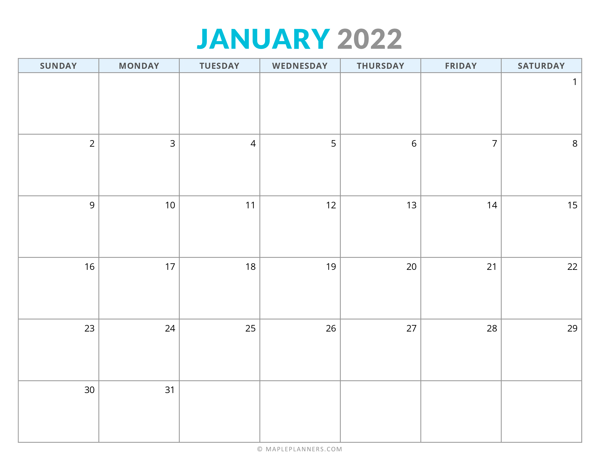 January 2022 Calendar (Horizontal)