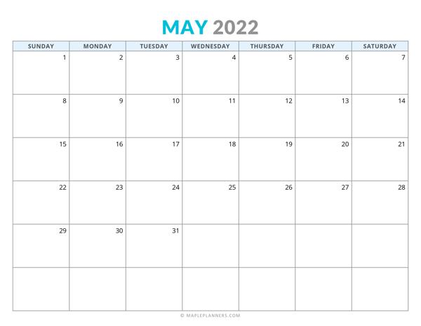 May 2022 Calendar (Horizontal)