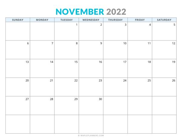 November 2022 Calendar (Horizontal)