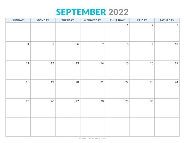 September 2022 Calendar (Horizontal)