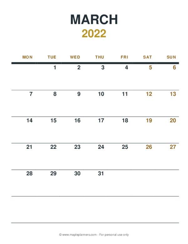 March 2022 Monthly Calendar - Monday Start