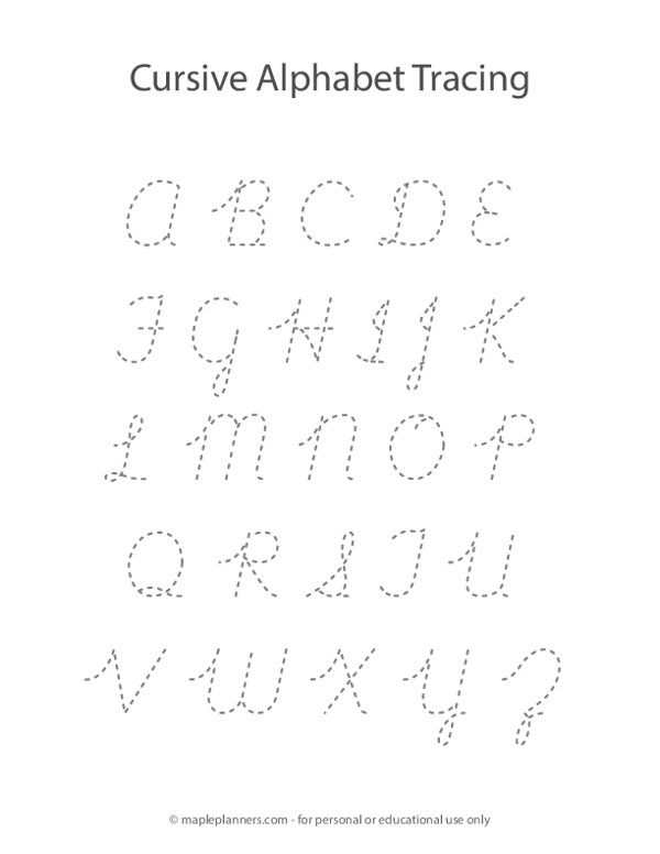 Cursive Alphabet Letter Tracing A-Z Worksheet