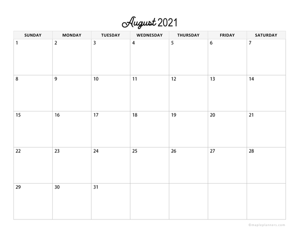 Minimalist August Calendar 2021 Horizontal