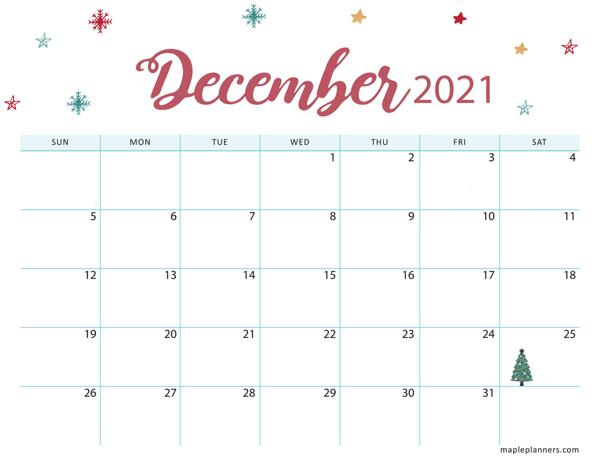 Christmas 2021 December Calendar (Horizontal)