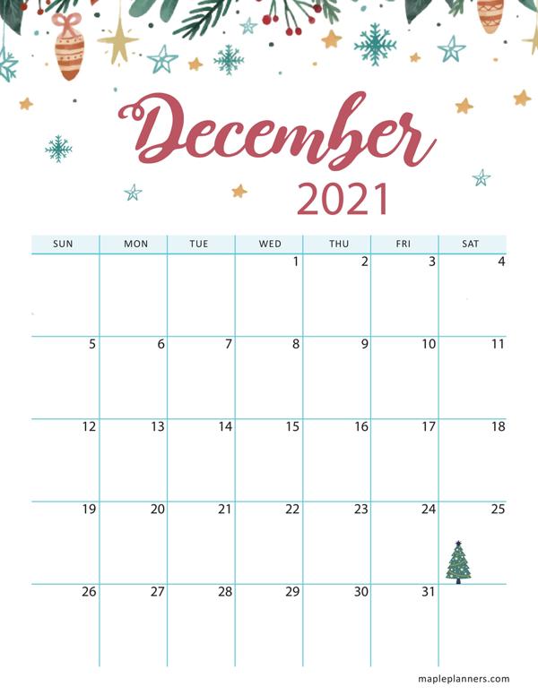 Christmas 2021 December Calendar (Vertical)