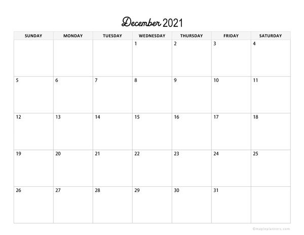 Minimalist December Calendar 2021 Horizontal