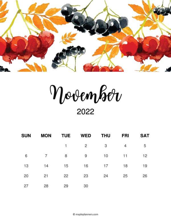 Floral November 2022 Calendar