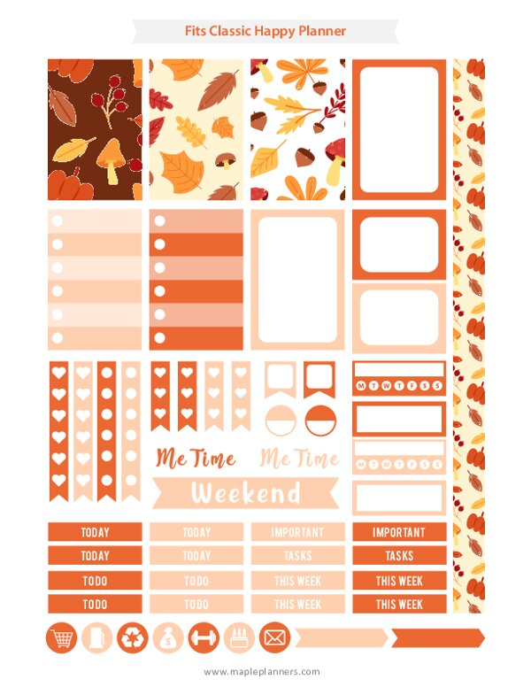 Fall Planner Stickers (for Happy Planner Weekly)