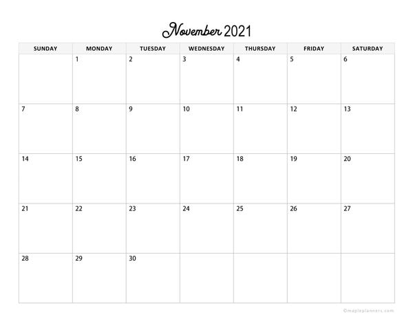 Minimalist November Calendar 2021 Horizontal