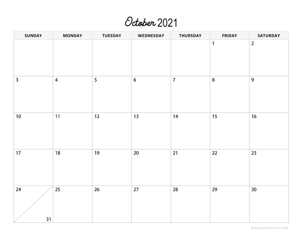 Minimalist October Calendar 2021 Horizontal