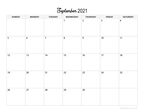 Minimalist September Calendar 2021 Horizontal