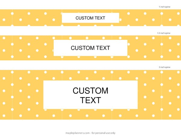 Yellow Polka Dots Binder Spines in 5 Sizes {Editable}