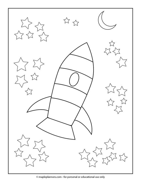 Outer Space Rocket Ship Coloring Page