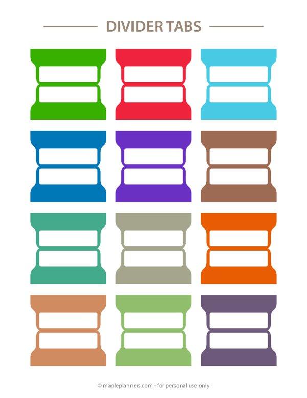Solid Color Binder Divider Tabs
