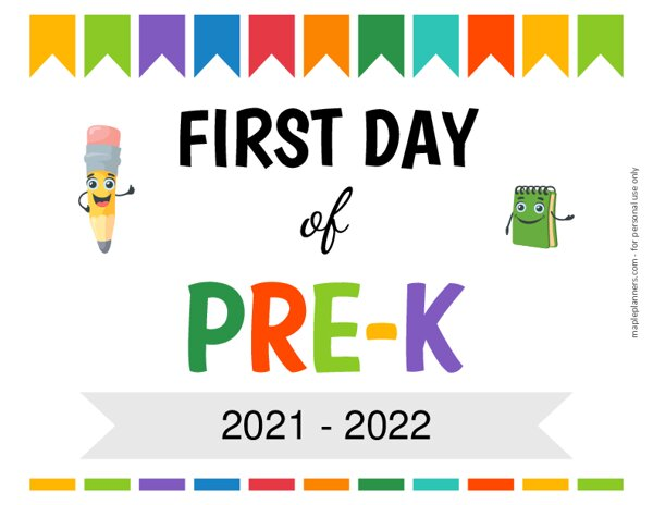 Editable First Day of Pre Kindergarten Sign