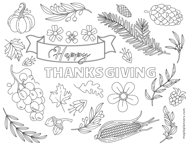 Happy Thanksgiving Elements Coloring Sheets