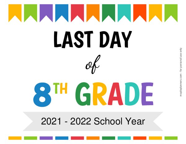 Last Day of Eighth Grade Sign {Editable}