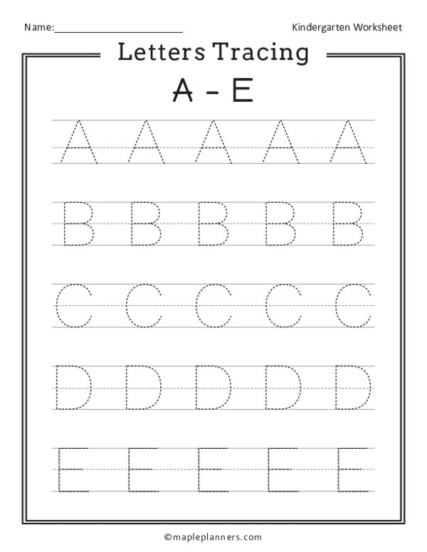 Letter Tracing A-E Worksheets