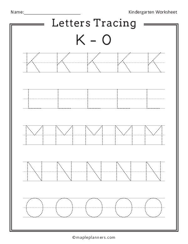 Letter Tracing K-O Worksheets