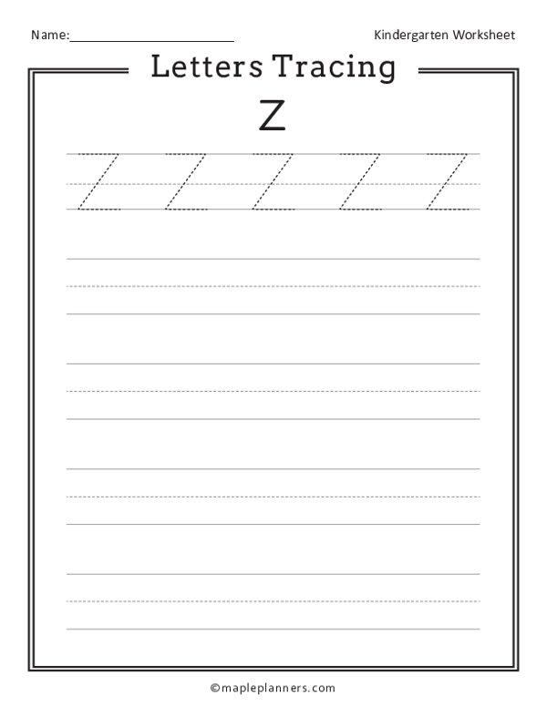 Letter Tracing Z Worksheets