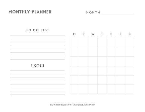 Minimalist Monthly Planner