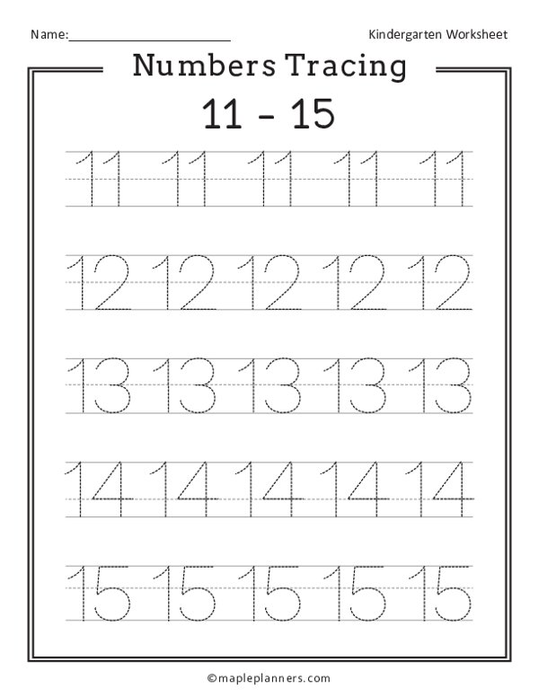 Numbers 11-15 Tracing Worksheets