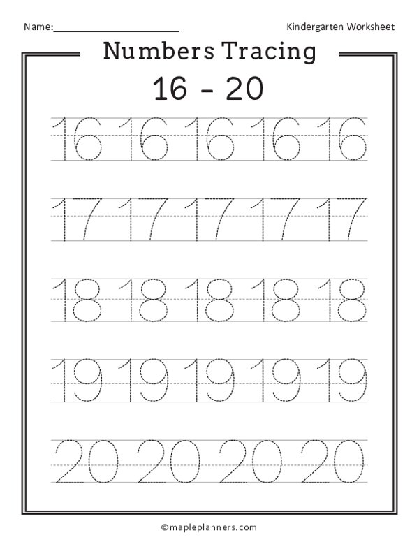 Numbers 16-20 Tracing Worksheets