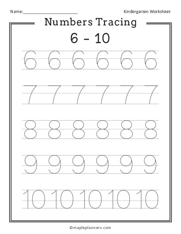 Numbers 6-10 Tracing Worksheets
