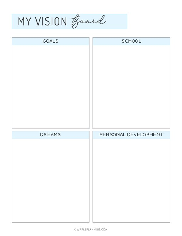 Student Vision Board Template